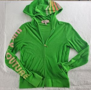 Juicy Couture Terry Cotton Zip Up Hoodie Sweater